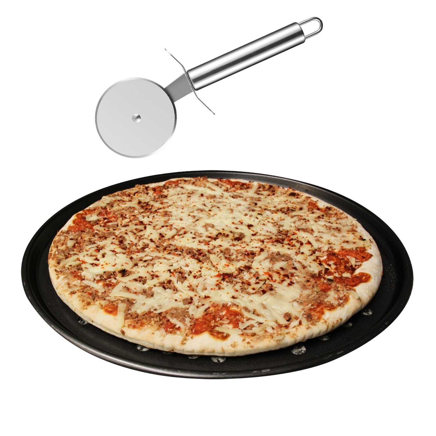 "Pizza Cutter and Pan,PEMOTech Premium Quality Stainless Steel Pizza Cutter Sharp Blade Good Grips Anti Slip Pizza Wheel-Slicer for Pizzza , Dish Washer Safe,Bonus with 12.5""Pizza Pan"