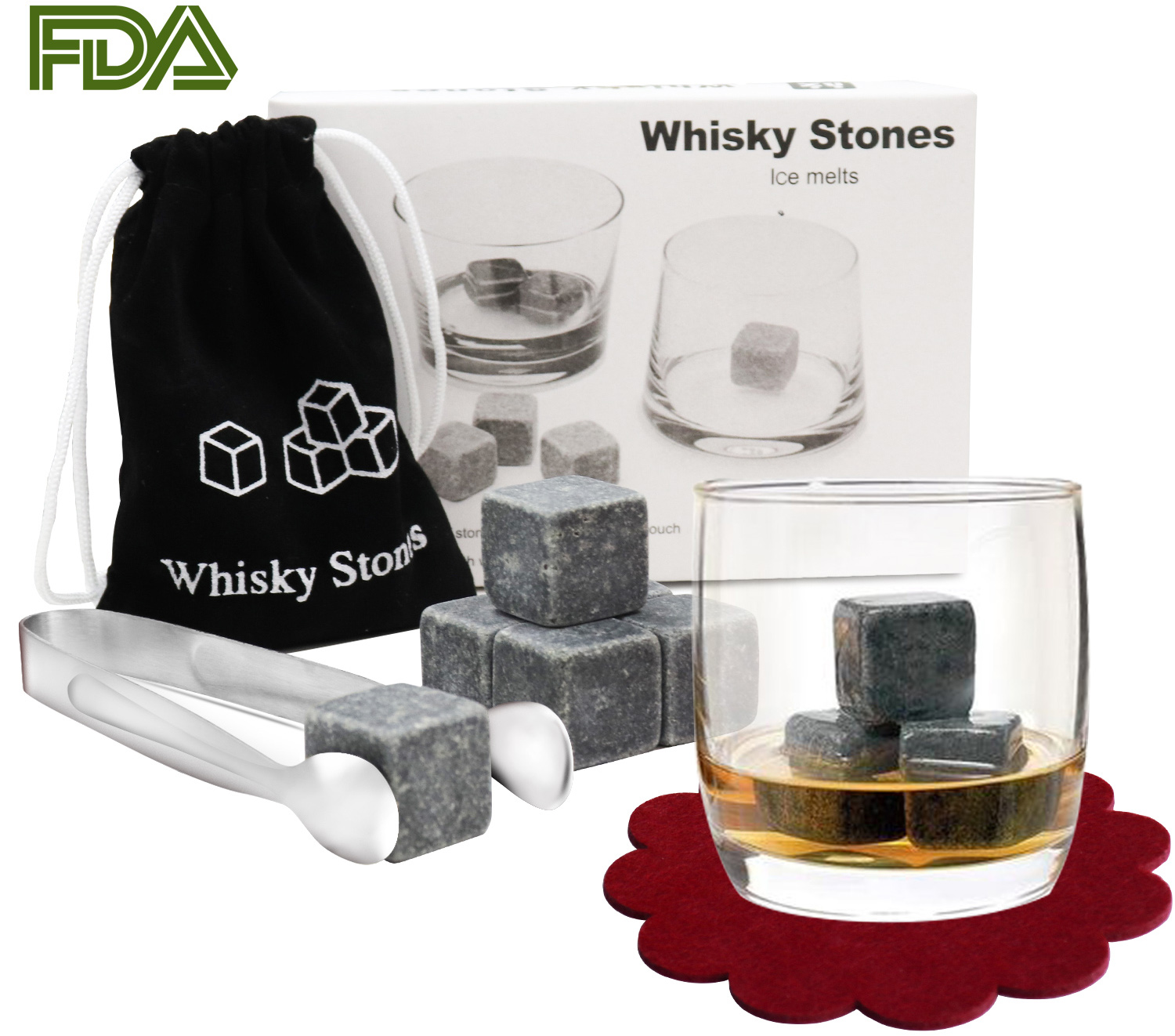 [With 2PCS Red Coasters and 1PCS Stainless Steel Tongs] Whisky Stones,PEMOTech [9PCS] Whiskey Beer Stones Whisky Chilling Rocks Ice Stones Drinks Cooler Rocks Granite With a Muslin Pouch, Perfect Set